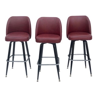 Set of Three Mid-Century Modern Barstools For Sale