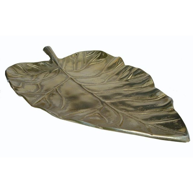 Art Deco Large Brass Metal Leaf Decorative Tray/Dish For Sale - Image 3 of 5