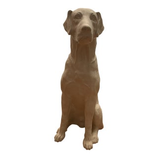 Late 20th Century Modern Life-Size Seated Dog Sculpture For Sale
