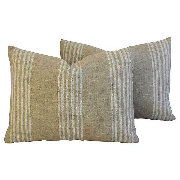 Custom Tan & White French Ticking Feather & Down Pillows - A Pair - Image 9 of 11
