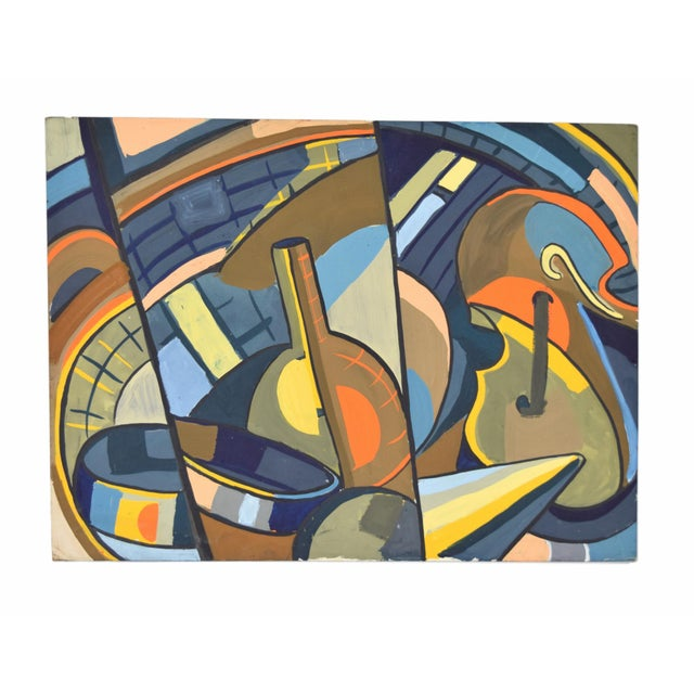 1950s Vintage Dick Fort Cubist Gouache Abstract Shapes Painting For Sale - Image 9 of 9