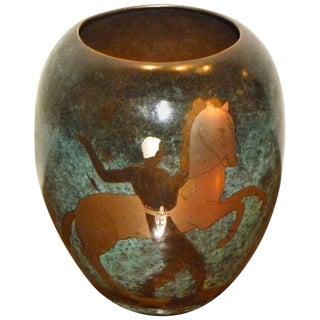 Ikora Dinanderie Mixed Metal Art Deco Vase For Sale