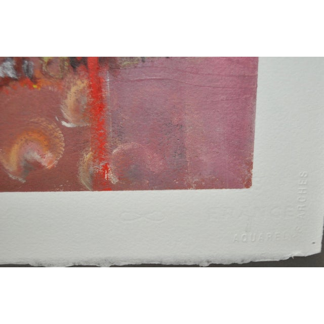 Contemporary Framed Abstract Oil on Paper - Image 5 of 8