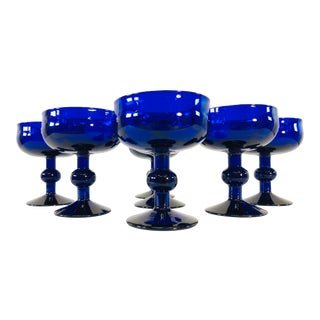 Art Deco Style Cobalt Glass Coupes, Set of 7 For Sale