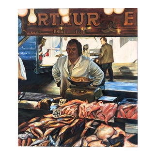 1980's Market Fishmonger Painting/Unsigned For Sale