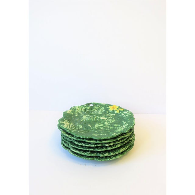 Green Set of Six Italian Designer Green Matte Pottery Plates With Lotus Design For Sale - Image 8 of 10
