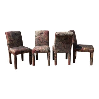 Postmodern Abstract Fabric Print Parsons Dining Chairs - Set of 4 For Sale
