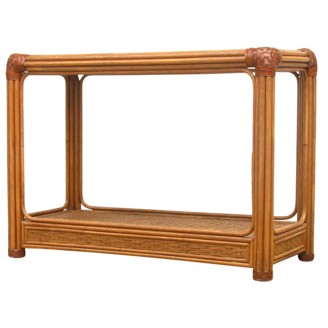 Mid-Century Rattan / Bamboo & Leather Console Table - Image 1 of 6