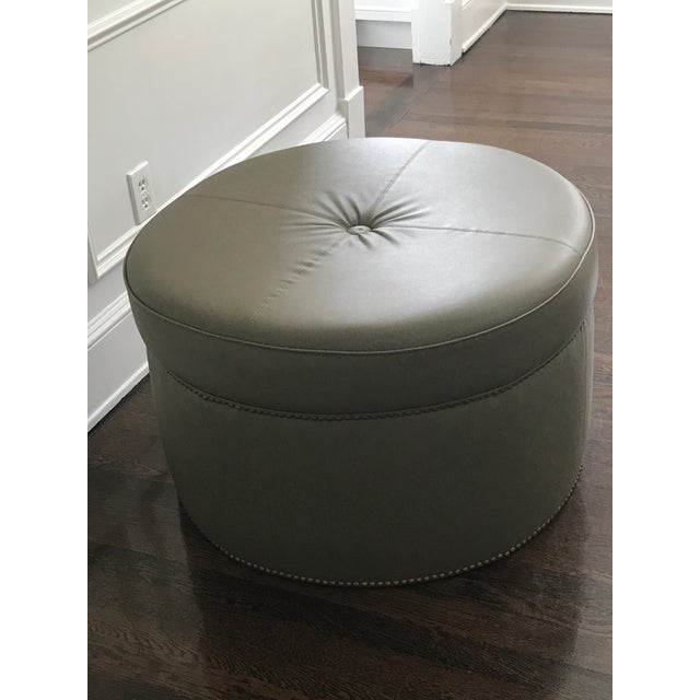Custom Upholstered Green Leather Ottoman - Image 5 of 5