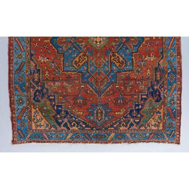 Traditional Heriz Red Ground Medallion Carpet For Sale - Image 3 of 4