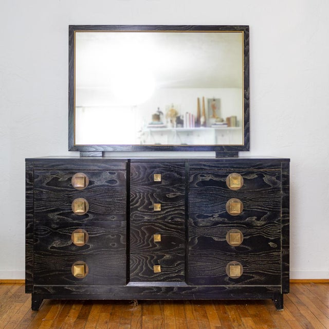 Mid Century Nightstands | Black and Brass | Huntley Furniture For Sale - Image 12 of 13