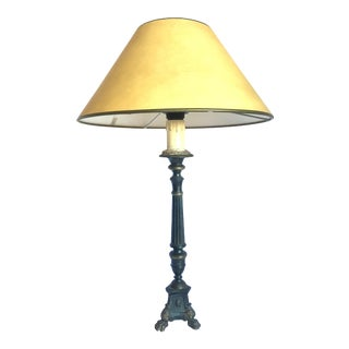 1930s Italian Three-Legged Bronze Candlestick Table Lamp For Sale