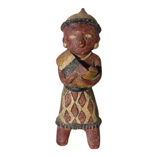 1960s PreColmbian Style Pottery Sculpture For Sale