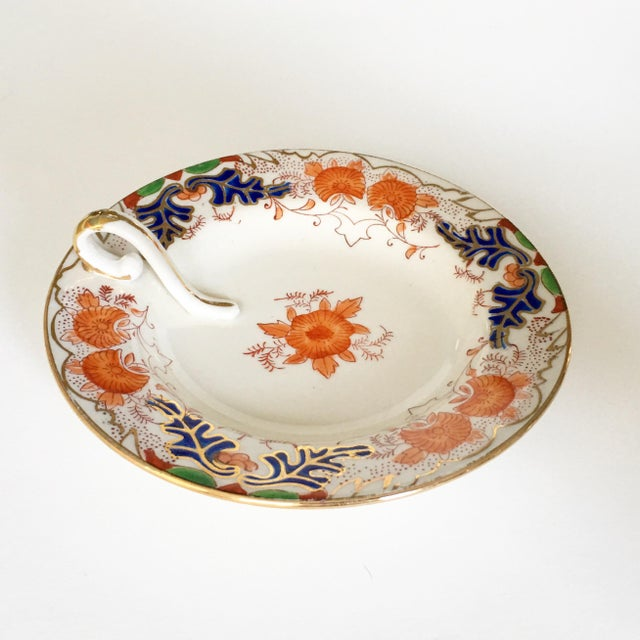 Asian Vintage Hand Painted Candy Dish with Gold Trim For Sale - Image 3 of 5