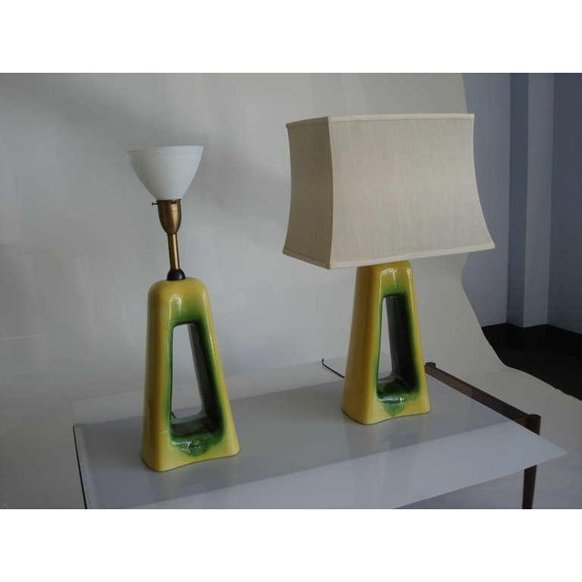 Over the Top Oversized lamps in green and yellow glazed ceramic. Newly rewired. Shades NOT included.