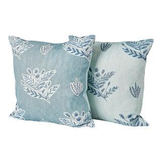 Ferrick Mason Custom Emily Blue Knife Edge Pillows - a Pair For Sale
