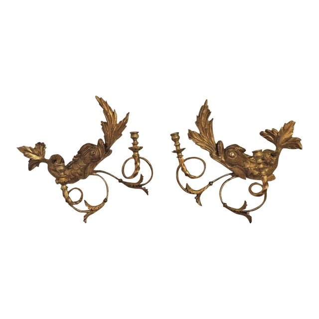 Early 19th C American Dolphin Giltwood Sconces For Sale