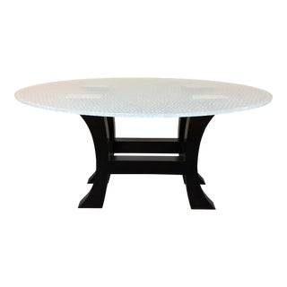 Custom Bubble Etched Glass Top Dining Table For Sale