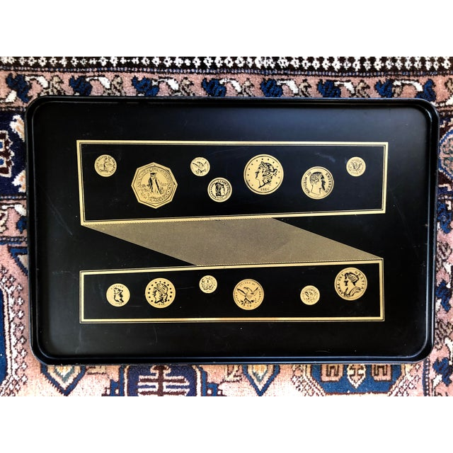 Black Mid Century Black Gold Fornasetti Style Coins Serving Tray For Sale - Image 8 of 8