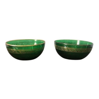 Georgian Green Glass Bowls With Gold Detailing - a Pair