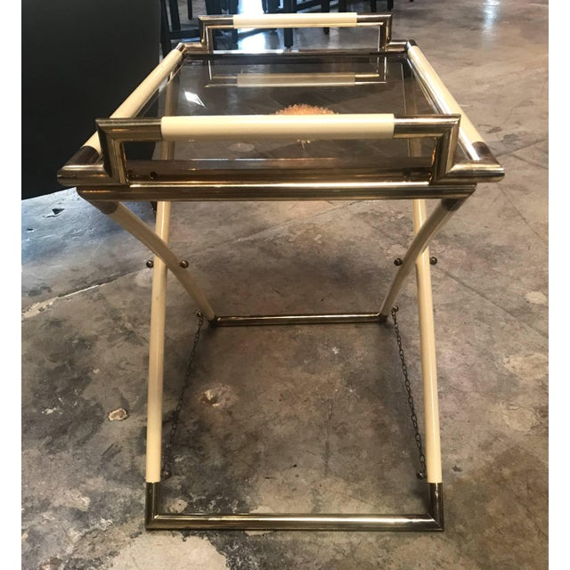 Italian Vintage Brass and Glass Cocktail Table For Sale - Image 3 of 9