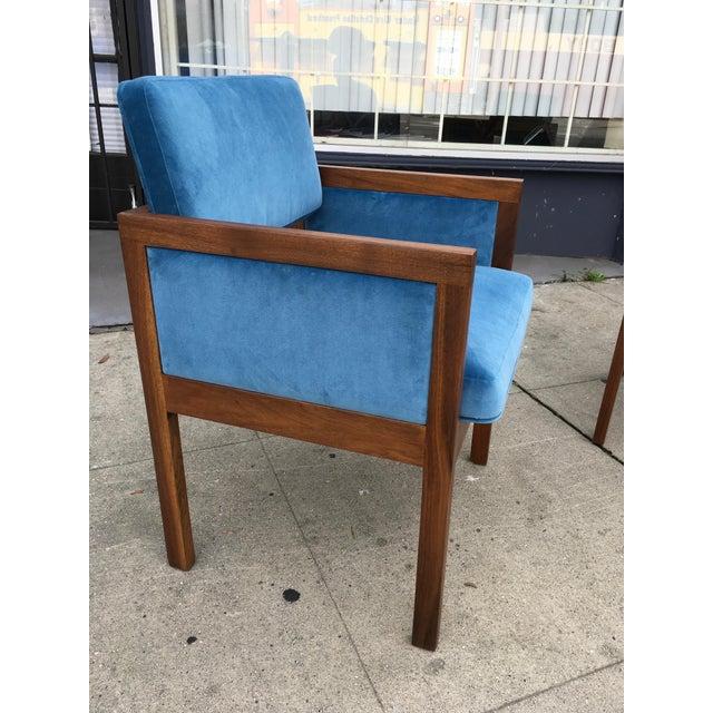 Robert John Walnut Arm Chairs in Blue Velvet For Sale - Image 5 of 11