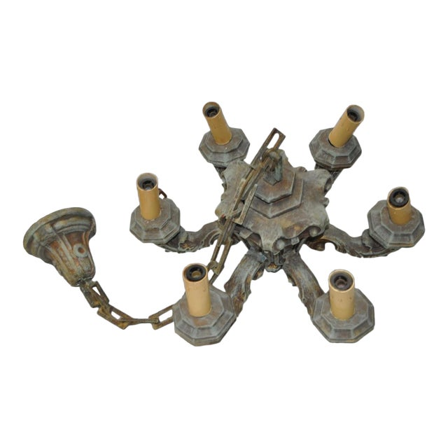 Six Arm Composite Chandelier with Chain & Cap Circa 1930s For Sale