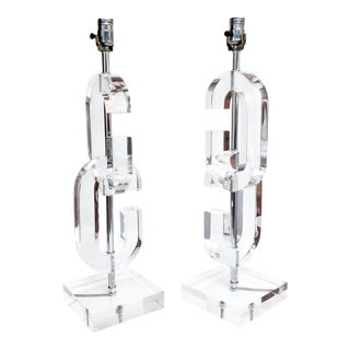"Lucite ""Cc"" Table Lamps in the Manner of Chanel - A Pair"