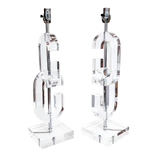 """Lucite """"Cc"""" Table Lamps in the Manner of Chanel - A Pair For Sale"""