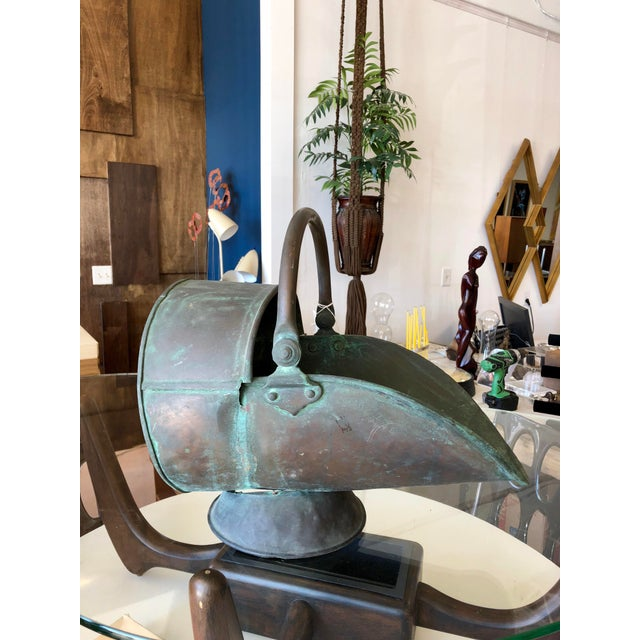 Metal 20th Century Antique Copper Coal Bucket For Sale - Image 7 of 7