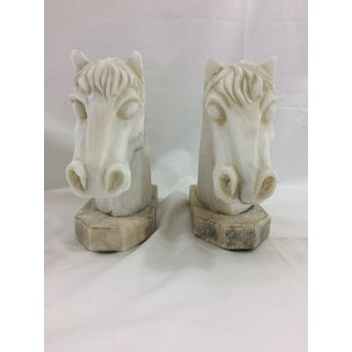 1940s Vintage French Alabaster and Marble Horse Head Bookends - a Pair Preview