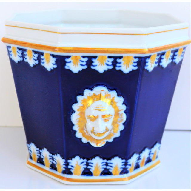 This is a beautiful vintage Cobalt, White and Gold porcelain Cachepot! This was produced by Vista Alegre specifically for...
