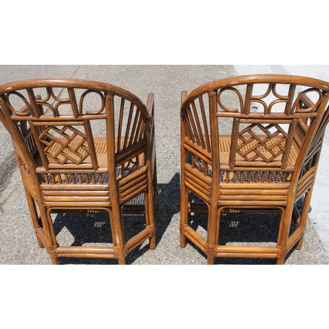 Mid 20th Century Chinoiserie Bamboo Rattan Brighton Pavilion Chairs With Caning- a Pair For Sale - Image 5 of 11