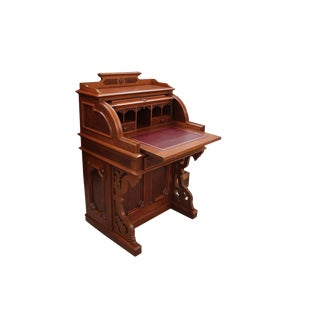 Late 19th Century Vintage George C. Flint and Company Roll Top Secretary Desk For Sale