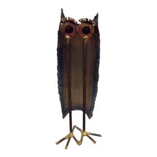 1970s Brutalist Torch Cut Metal Owl Sculpture For Sale