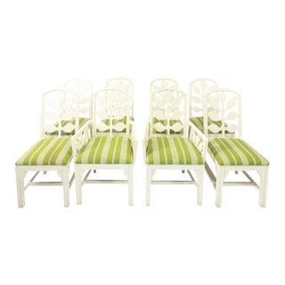 1980s White Lacquered Dining Chairs - Set of 8 For Sale