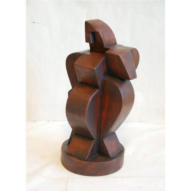 Wood French Cubist Sculpture Signed on Bottom Atelier De Boulogne For Sale - Image 7 of 7