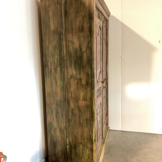 Antique Rustic Large Wood Armoire - Image 3 of 6