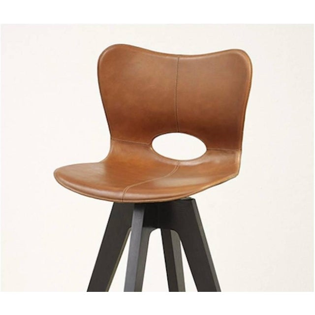 Contemporary Akmd Collection Leather and Wood Lariat Barstool For Sale - Image 3 of 4