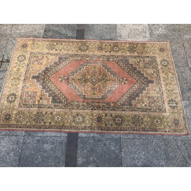 1960s Handwoven Antique Turkish Wool Rug - 3′7″ × 5′11″ For Sale - Image 5 of 10