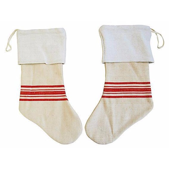 French Grain Sack Christmas Stockings - Pair - Image 1 of 6