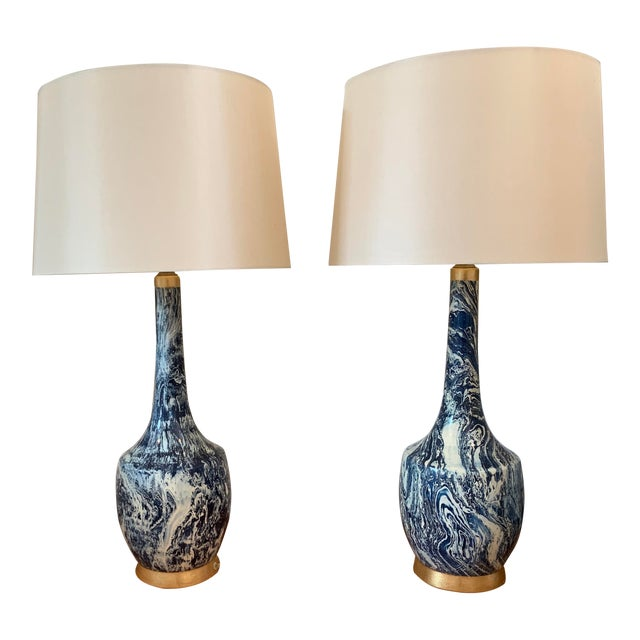 Blue and White Table Lamps With Shades - a Pair For Sale