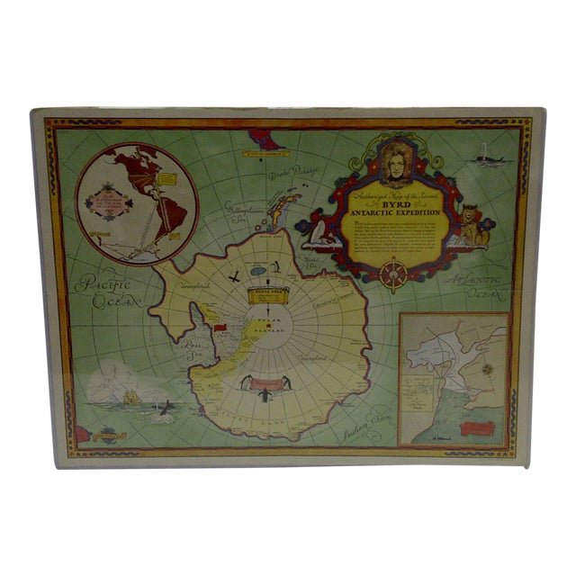 1934 Authorized Map of Second Byrd Antarctic Expedition General Foods - Image 1 of 5