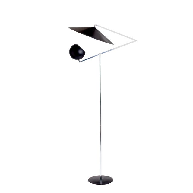 1960s Vintage Robert Sonneman Architectural Chrome and Black Articulated Floor Lamp For Sale