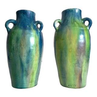 Rare Vintage 1930's Belgium Art Deco Art Nouveau Drip Glaze Art Pottery Handled Ceramic Urn Vases - a Pair For Sale
