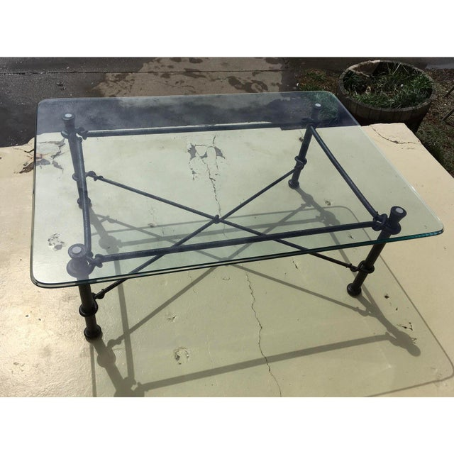 Metal Mid-Century Modern Rectangular Wrought Iron Glass Top Coffee Table After Giacometti For Sale - Image 7 of 13