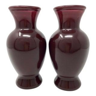 1930s Vintage Art Deco Purple Catalin Bakelite Vases - A Pair For Sale