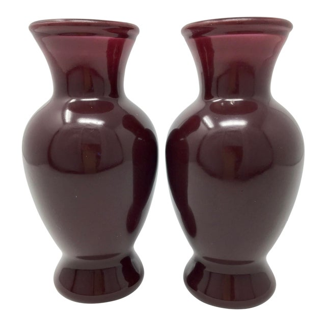 1930s Vintage Art Deco Purple Catalin Bakelite Vases - A Pair For Sale