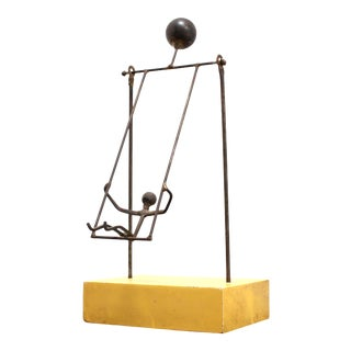 Mid Century Modern Kinetic Sculpture - Bronze and Wood For Sale