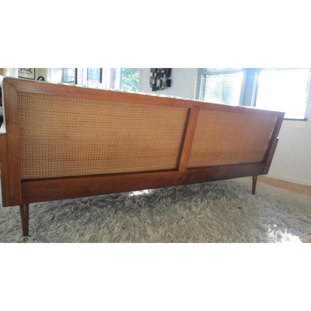Mid Century Modern Wood Framed Cane Sofa Chairish